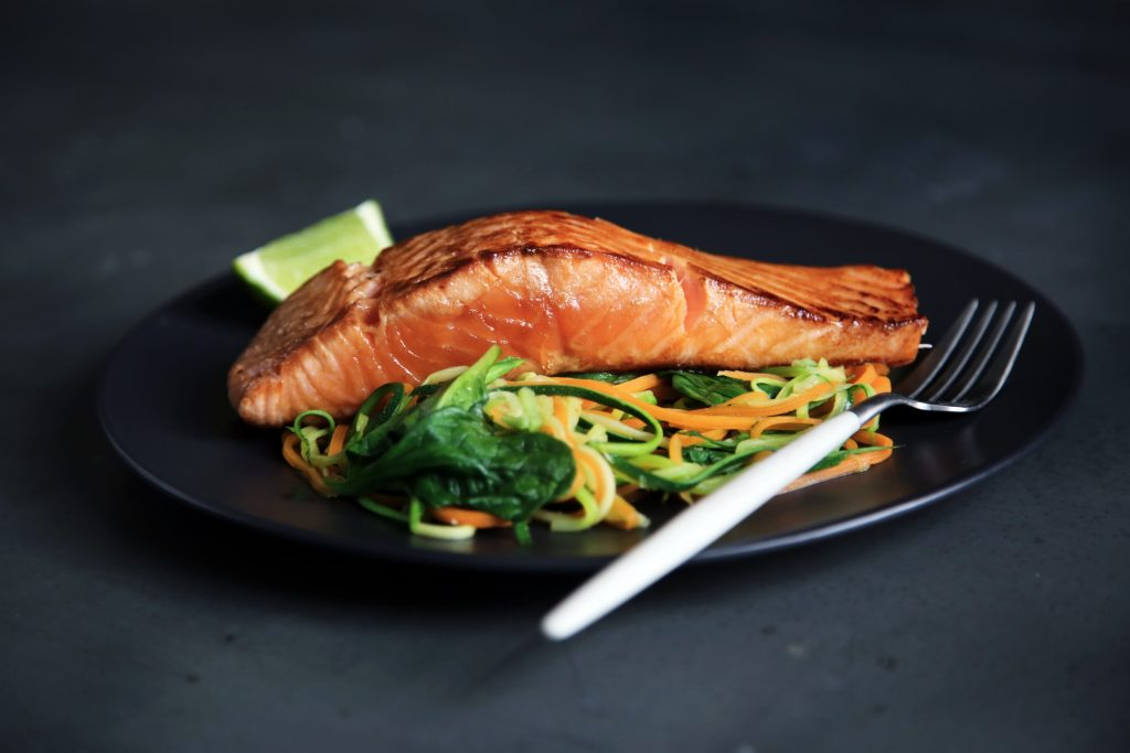 Avoid Feeling Drowsy After Lunch. lean fish, fish fillet, green salads. folks. plat. fish on plat. www.blisslife.in