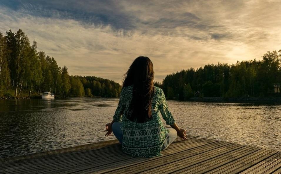 yoga. girl. river side.. nature