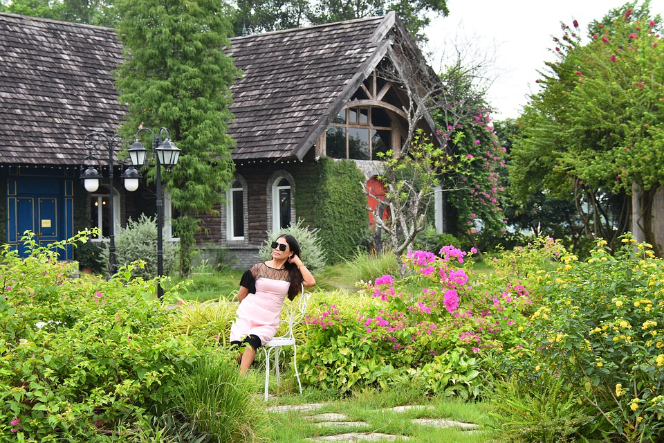 clean your mind.nature.garden.green.bliss.flower.scenery. sky.cottage.beauty